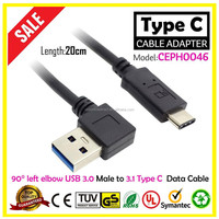 Newest type c connector charging data Cable 20cm 90 degrees left elbow USB 3.1 c type connector