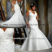 Sexy V-neckline beaded appliqued lace mermaid big size custom-made plus size mermaid/trumpet wedding dresses CWFaw4922