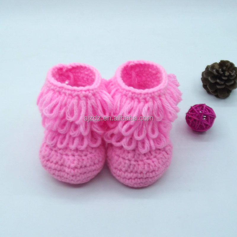 Hot Pink Baby Boy Girls Infant Crochet Handmade Casual Socks Shoes