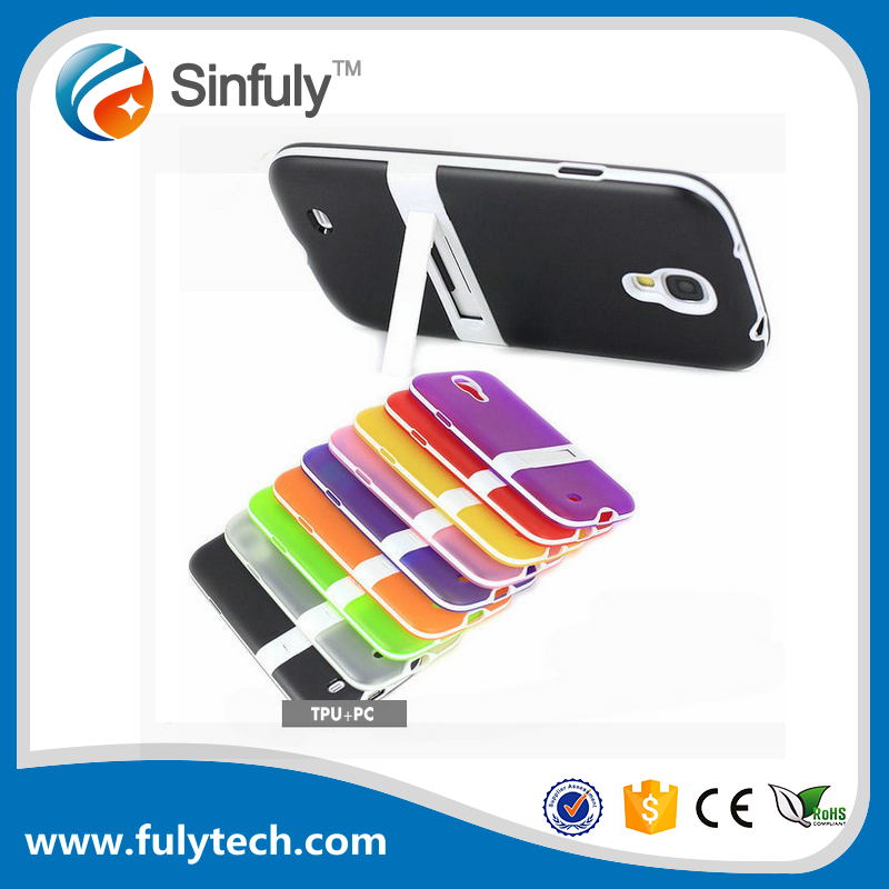 TPU PC Stand Phone Case for Samsung Mobile Phone Galaxy S4 Covers