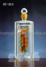 decorative glass bottles with stoppers / decorative bottles with red yellow peppers / 20cl glass bottle