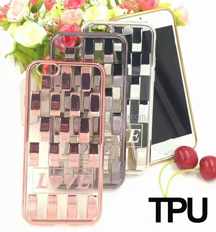 Fashion LOVE tpu cell phone case for iphone 7 cover,tpu electroplating for iphone 7 case