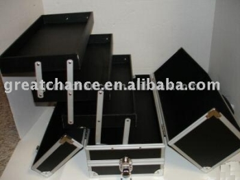 Lockable Black Aluminum Train Case / Make Up Case