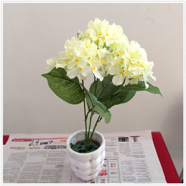 high quality wholesale Plastic Flower artificial white hydrangea