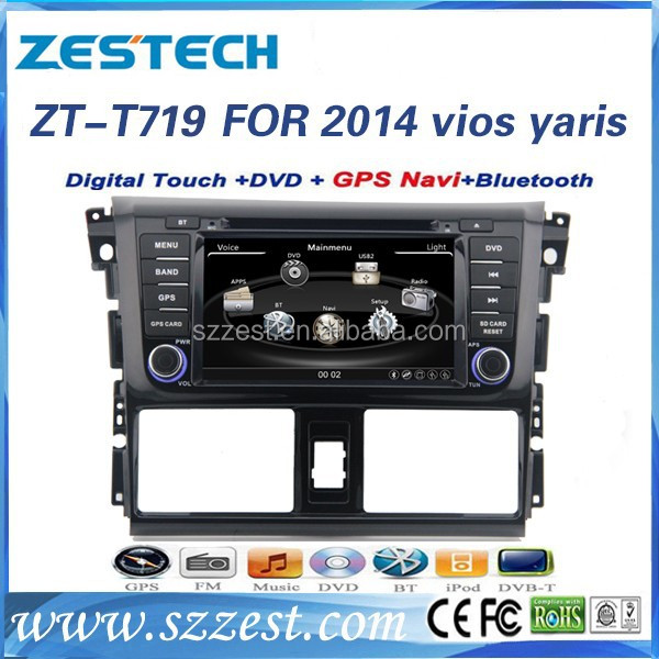 "ZESTECH factory 7"" HD Touch screen 2 din car multimedia for toyota yaris 2014 car dvd player gps"