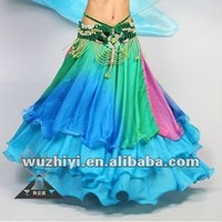 Colorful Pleated Rayon Belly Dance Long Skirt for Women
