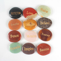 Wholesale engraved semi precious stone lettering words palm stones piece rose quartz yellow jade jasper agate crystal