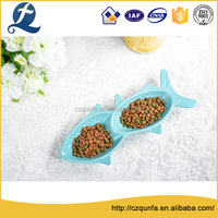 High gloss cute fish plate stoneware bowl multi cat feeder