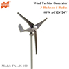 2m/s low start wind speed 3 phase AC12V/24V 100W Small Horizontal Axis Home Wind Turbine Generator with 3 Blades or 5 Blades