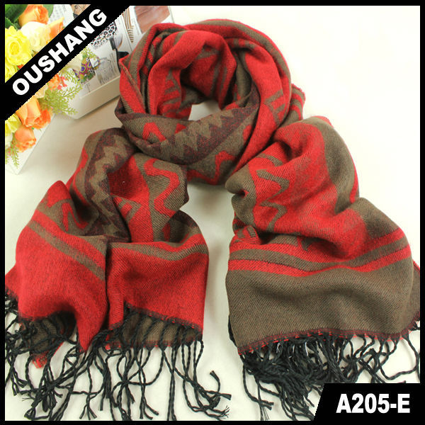 A205-E Thick Winter Pashmina Scarves Fabric Striped Triangle Scarf