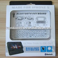 For iPhone 5 Wireless Bluetooth Backlit Keyboard with Ultra-thin Case Full QWERTY Keyboard - Black/White