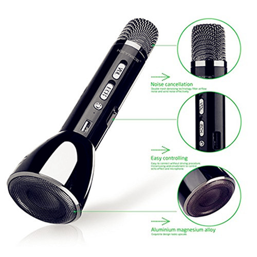 Blue tooth Karaoke Mic with Echo Reverberation | 3 in 1 Noise Filtering Wireless Singing Microphone