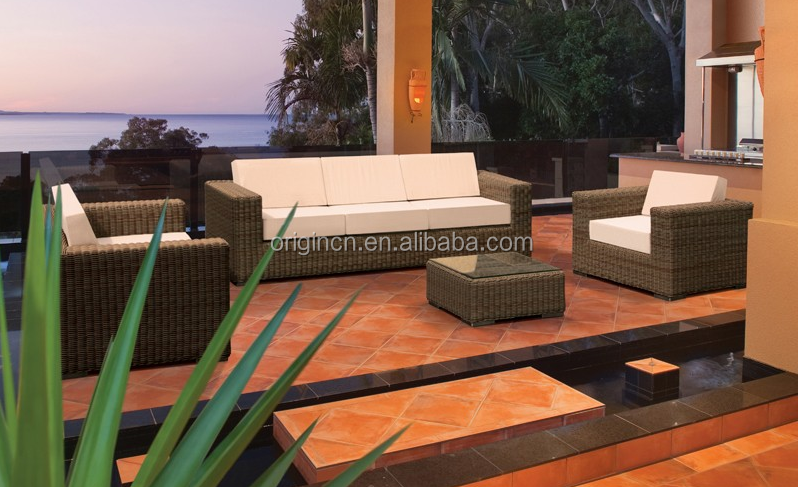 Resort hotel used wicker sofa and coffee table set outdoor rattan cebu philippines furniture