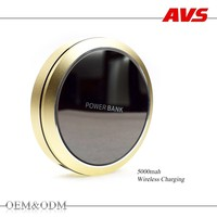 AVS 2016 latest 5000 mah fashion oem mirror small for iphone 6 and samsung cell mobile phone power bank wireless charger
