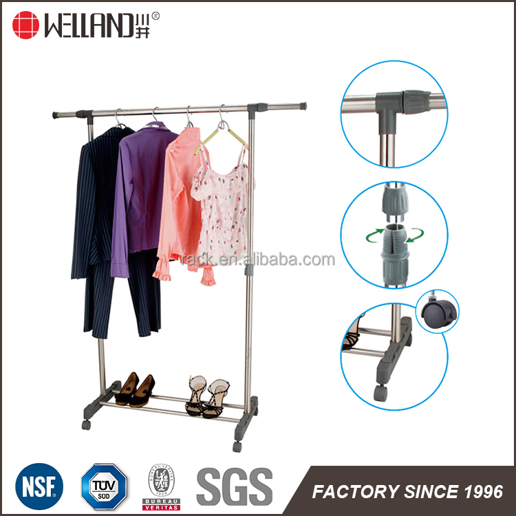 1F Single rod Extended Hanging Drying Racks Clothes with Carbon Steel Pipes