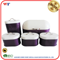 metal material 5 pieces bread bin sugar coffee tea biscuit canisters set in powder coating