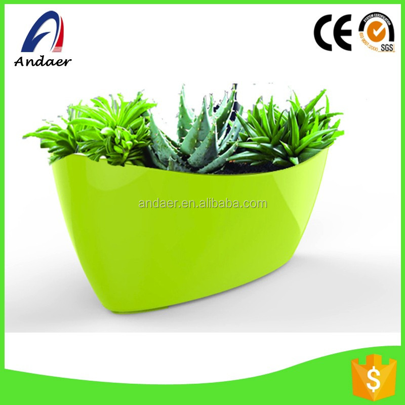 Rainbow shape,boat-alike PP Plastic flower pots in office and household