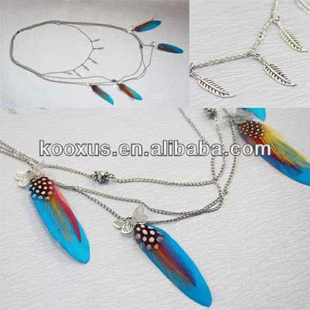 Polka Dot Feather Dangled Necklace with Charm Silver Leaf and Butterfly KSLN0035
