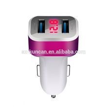 Mobile phone accessories 2 in 1 USB In Car Charger With led display