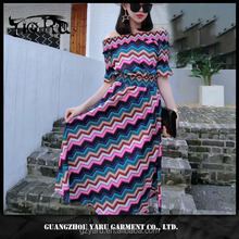 colorful young girl hot casual short sleeve new fashion maxi dress OEM/ODM 2017 guangzhou manufacturer