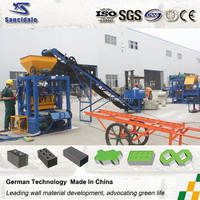QT4-24 concrete blocks supplier/interlocking brick block machine/ hollow coal ash brick making machine