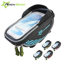 ROCKBROS Riding Bike Frame Front Tube handlebar Bag With Waterproof Cover Cycling Pannier Smartphone&GPS Touch Screen bag