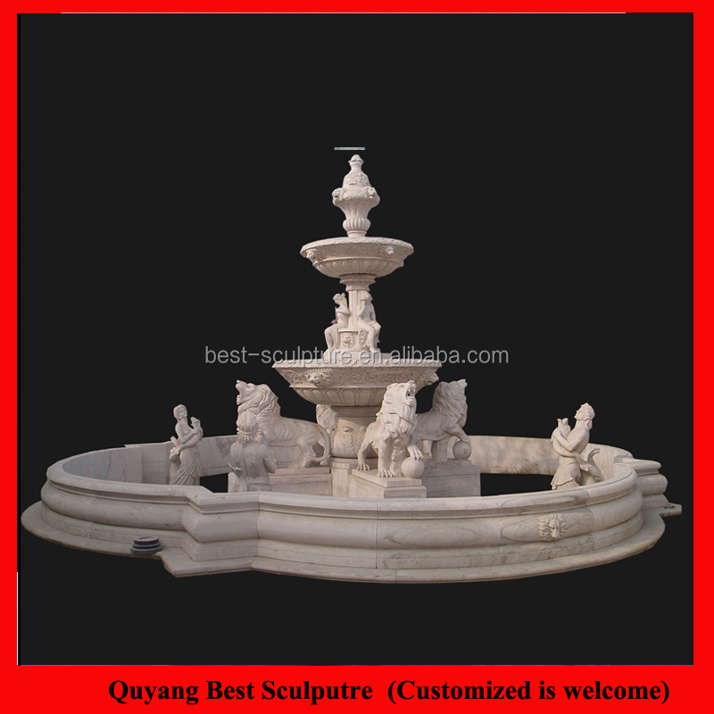 Landscape Large Size Water Fountain Marble Horse Staute Sculptures