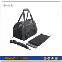 Durable and Strong Soft Sided Black Pet Carrier with fleece cushion