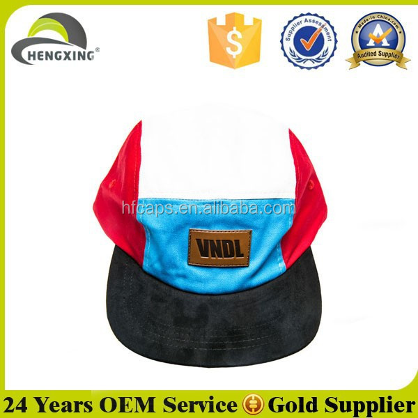 Mix Color Leather Patch Custom Strap Flat Brim Wholesale Canvas 5 Panel Hat