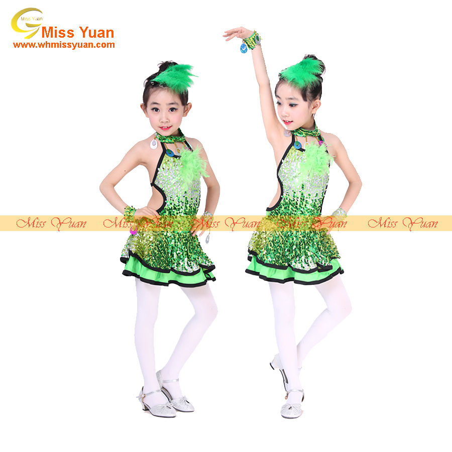 Sequin Feather Latin Children Girls Dance Clothes