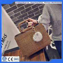 2016 Hot Korea Fashion Latest Custom-made Women Khaki Cute Lady Girls Wool Handbags with Stripe