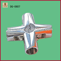 Chrome Metal 25mm Diameter Round Pipe Joint 4-Way,telescopic pipe joints