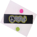 Korea lead free rhinestone Material and peace love cheer motif rhinestone elastic headband