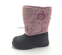 girls pink snow white winter boots,fancy cartoon printed snow boots