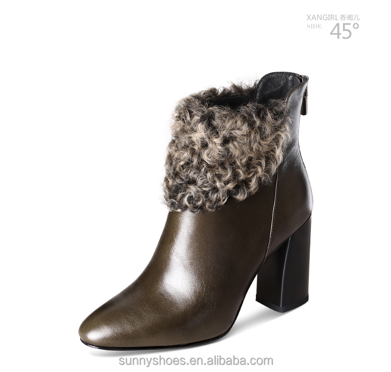 Luxury genuine leather army green woman fur boot