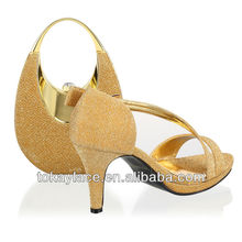 2013 hot-selling gold sexy ladies fashion italian shoe and matching bag