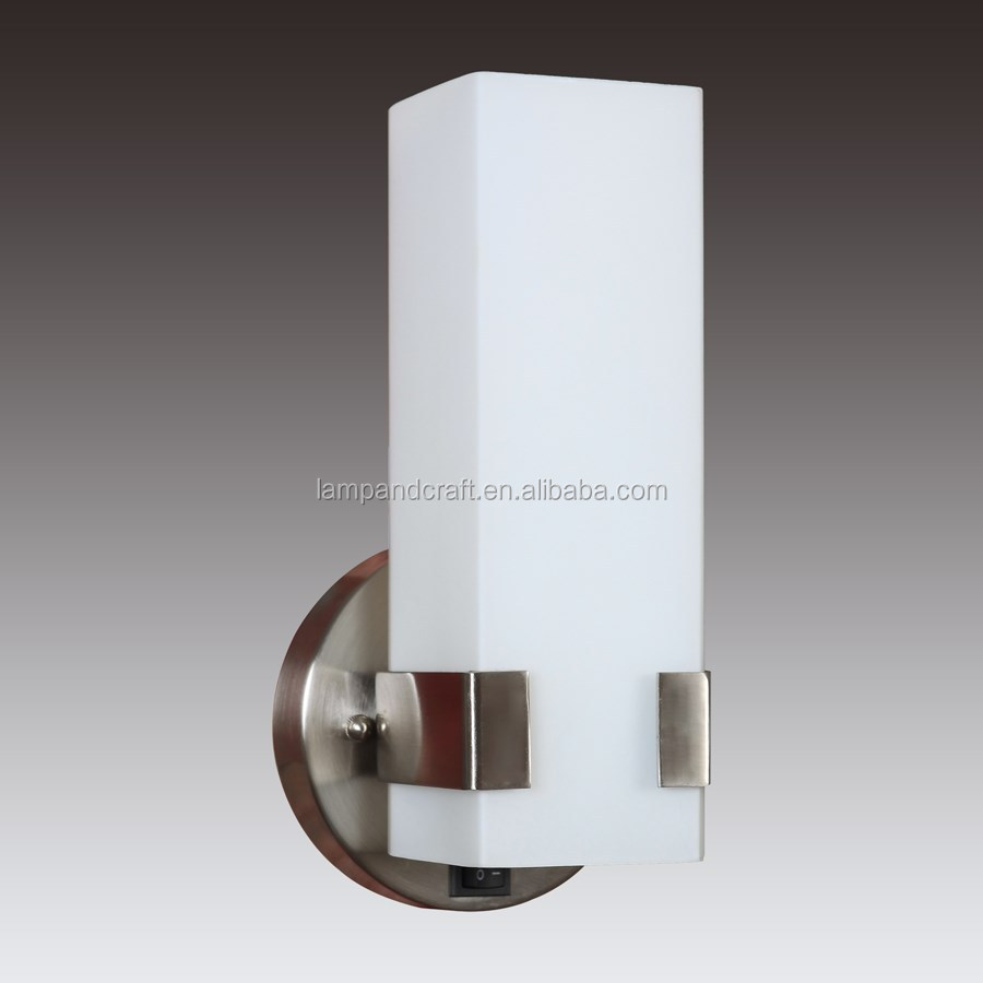 "UL CUL Listed 12.5"" Brushed Nickel Vanity Light Fixture with Rectangular Frosted White Glass Diffuser and On/off rocker switch"