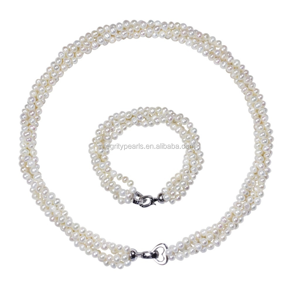 Heart shape clasp bridal small pearl jewelry necklace set