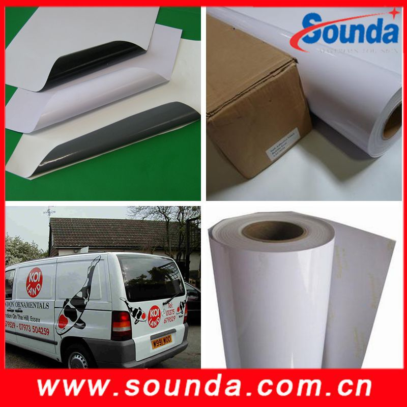 Sounda Waterproof Glossy White Self Adhesive Vinyl rolls, printable vinyl