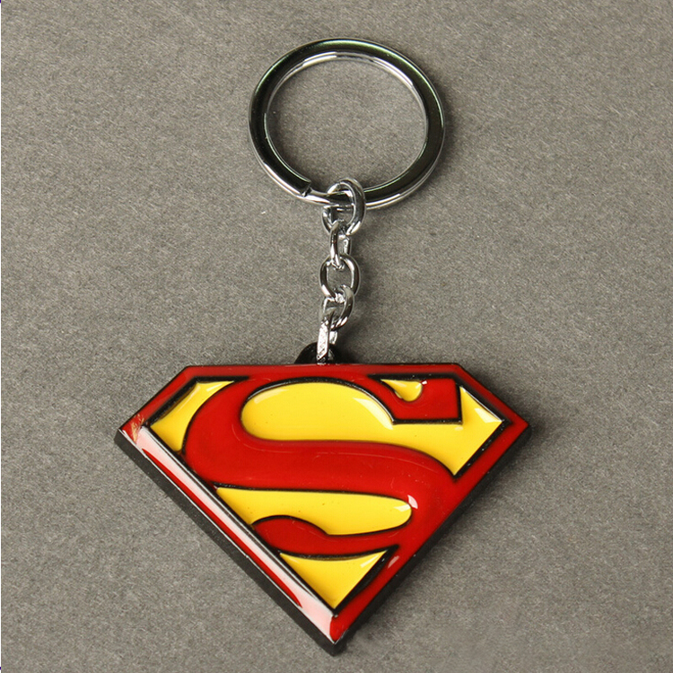 Fashion Hip Hop Colored Epoxy Superman Keyring For Boy