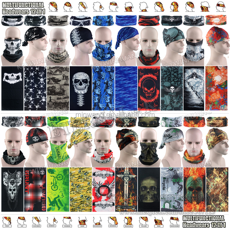 Free Shipping Wholesale Multi Stock Designs Outdoor Motorcycles Tube Multifunctional Bandanas