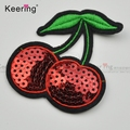 Embroidered red color cherry cheap patch sequin patch WEFB-003