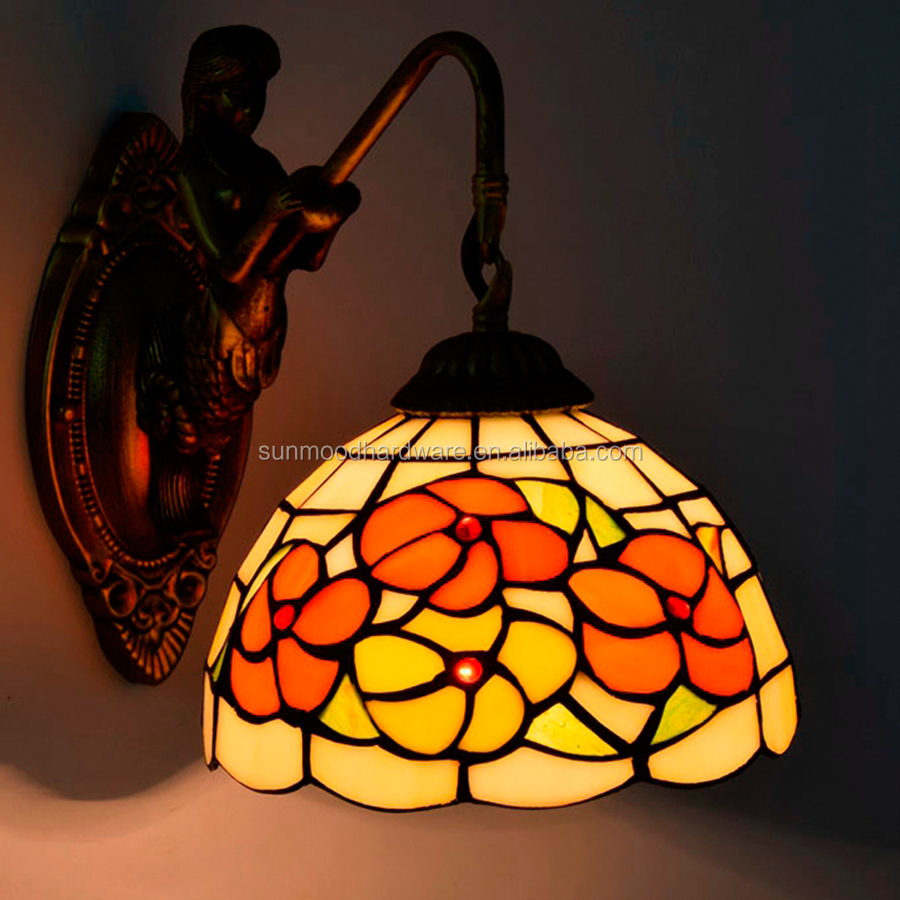 Wholesale European Style Tiffany Fugitive Flower Art Glass Bedroom Bedside Wall Lamp Hotel Corridor Beauty Wall Light