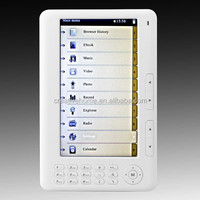 7 inch E-BOOK Reader with 800 x 600 Resolution, MP3/FM Function, Support TF Card and up to 8GB, Built-in 4G Memory
