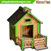 Painted Decorated Wooden Dog House & Porch