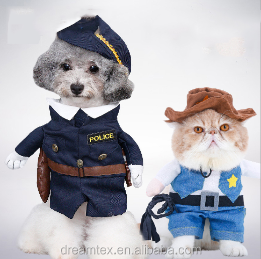 Halloween pet costume cop pirate superman turns into pet clothes