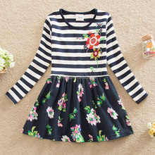 (LH5908) 4-8Y Neat new girl dresses with flowers on it fancy dresses latest cotton frock designs kids embroidery dress wholesale