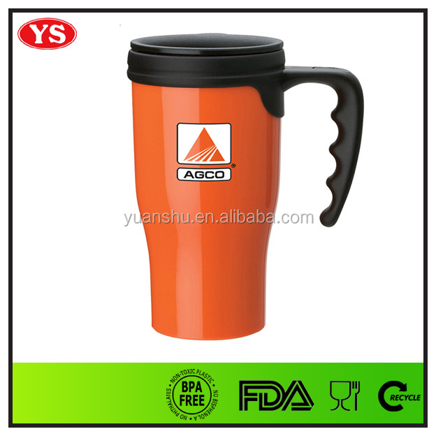 14oz insulated double wall thermal plastic cup with handle