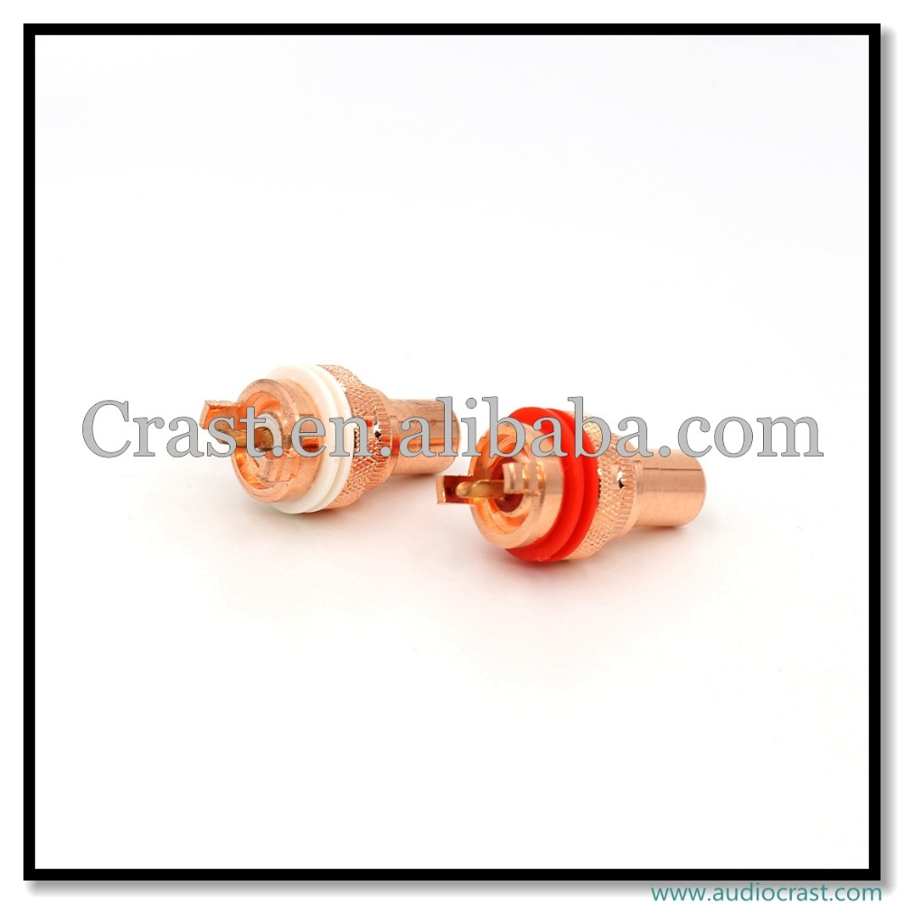 OEM/ODM Red Copper Plated RCA Socket Phono Female Chassis
