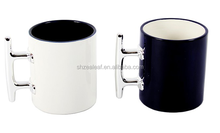 Ceramic mug with stainless steel handle